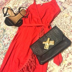 Red Faux Wrap Tassel Dress!
